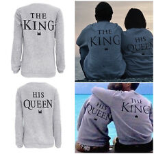 Fashion King &Queen Couple Letter Print T-Shirt Sport Tops Blouse Couple Sweater