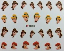 Nail Art 3D Decal Stickers Disney Princess Ariel Belle Cinderella K093