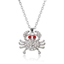 """Crab Charm Pendant Fashionable Necklace - Sparkling Crystal - 17"""" Chain"""