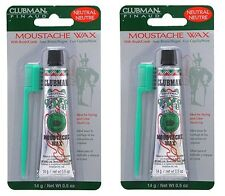 Clubman Pinaud Moustache Wax With Free Brush/Comb Neutral, 0.5 Oz  PACK OF 2