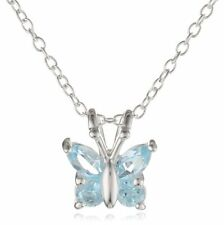 "Sterling Silver Blue Topaz Butterfly Pendant Necklace, 18"""