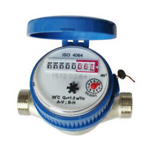15mm 1/2 inch Cold Water Meter for Garden Home Using with Free Fittings Tools UK