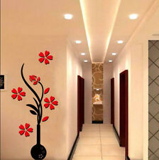 3D RED Flower DIY Mirror Wall Decals Stickers Art Home Room Vinyl Decor HS