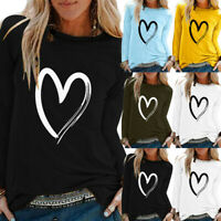AU Womens Summer Long Sleeve T Shirt Blouse Ladies Print Basic Tee Tops Plus