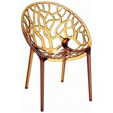 Compamia Crystal Polycarbonate Modern Dining Chair, Clear Amber - ISP052-TAMB