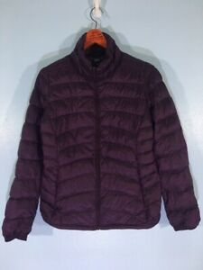 VINTAGE 90s UNIQLO BURGUNDY GOOSE DOWN JACKET PUFFER QUILTED PADED SHINY M