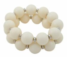 Zest 2 Pack Chunky Elasticated Bead Bracelet with Silver Spacers Ivory Cream