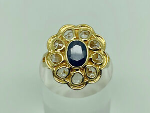 Stunning Modern Gold Sterling Silver Natural Sapphire & Topaz Ring Size M 1/2