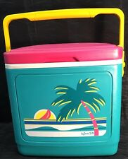 Vtg Igloo 24 Ice Chest Cooler Multi-Color Palm Tree Beach Pink Turquoise Yellow
