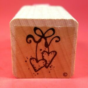 """Wood Mounted 1"""" x 1""""  Rubber Stamp - A Pair of Heart Shaped Cherries w/ Stems"""