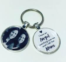 Mum Angel personalised memory photo keyring, bereavement Mothers day keyring