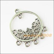 4 New Round Circle Flower Connectors Tibetan Silver Tone Charms Pendants 30x36mm