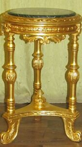TABLE - BAROQUE STYLE ROUND SIDE TABLE - GOLD WITH MARBLE TOP  #M50