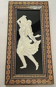 Persian Miniature Art Hand Cut out Girl Hard Plastic Sheet + Khatam Inlaid Frame