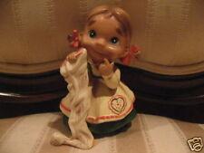 Vintage Peasant Girl w/Stocking Figurine Christmas Holiday Home Decor