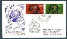 SAN MARINO - 1974 - Centenario dell'U.P.U. su raccomandata
