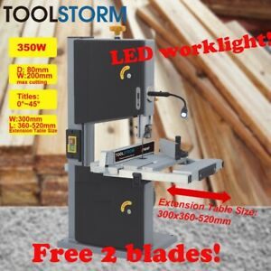 """200mm 8"""" Bandsaw Wood Timber Cutting Table Drill Press Band Saw 350W W/LED light"""