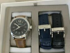 Fossil Editor 44mm Black Dial Brown Leather Men's Watch with Strap SET BQ2337SET