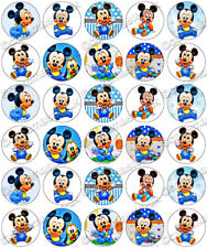30 x Baby Mickey Mouse Fun Party Edible Rice Wafer Paper Cupcake Toppers
