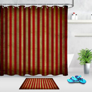 Vintage Shabby Red Stripes Shower Curtain Set Bathroom Waterproof Fabric Hooks