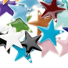 120 Silver Plated Brass & Epoxy 17x17mm Star Charms Mix
