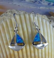 STERLING SILVER BLUE OPAL SAILBOAT WIRE EARRINGS