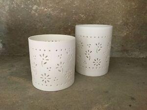 Gisela Graham matt white bisque flower cut out tea light votives