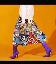 Pop Art Midi Cartoon Print Pleated Skirt Women Long High Waist A-Line Elastic