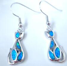 **NEW**ELEGANT BLUE FIRE OPAL  925 SILVER CAT EARRINGS  18 X 10 mm