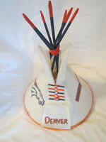 Dineh Handcrafted Signed Teepee Lamp 1998 Denver Broncos