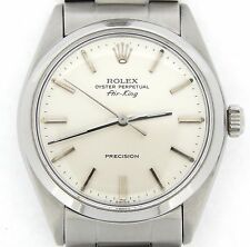 Rolex Air King Precision Men Stainless Steel Watch Silver Stick Dial Oyster 5500