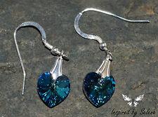 SWAROVSKI Crystal Austrian Bermuda Blue Earrings Sterling Silver Gift Wedding