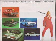 1967 DODGE BROCHURE - MONACO POLARA CORONET CHARGER DART - DODGE REBELLION