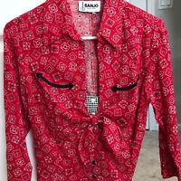 Banjo Red Western Black Cowgirl 3/4 Sleeve Womens Shirt Top size XS X Small