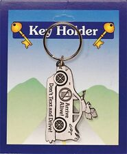 DON'T TEXT AND DRIVE ARRIVE ALIVE GUARDIAN ANGEL PEWTER KEYRING OTHERS LISTED