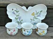 """Lenox """"Butterfly Meadow"""" Pat. China Butterfly Tray & 3-Votive Candleholders"""