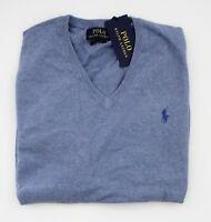 NWT Ralph Lauren Mens LS V-neck Blue Pima Cotton Sweater Sz M XXL 2XL NEW $99