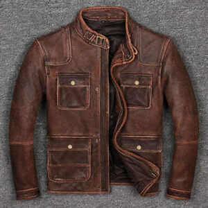 Mens Biker Cafe Racer Vintage Motorcycle Distressed Brown Cowhide Leather Jacket