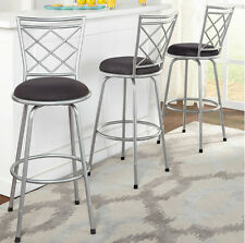 Silver Set of 3 Swivel Metal  Bar Height Stools Adjustable Kitchen Counter Stool