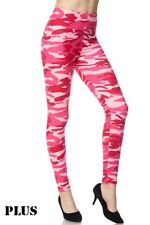 PLUS SIZE Women's New Army Print Buttery Soft Pink Camo Leggings TC CURVY 12-18