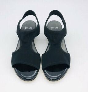 Stuart Weitzman Women Giver Open-Toe Mesh Wedge Sandal Black US 6.5        #M-23