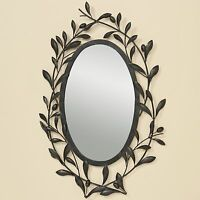 spiegel wandspiegel oval mit schmetterling bl tter verzierung metall ebay. Black Bedroom Furniture Sets. Home Design Ideas