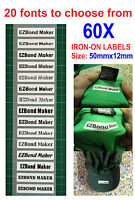 60x Iron-On Name Labels Tags Printed For Child Care, School, Nursing Home,