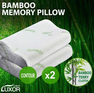 2x Pack Luxury Bamboo Memory Foam Fabric Fibre Cover Contour Pillow 50 x 30cm