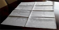 Set of 12 Gorgeous Vintage Fancy White  Linen Damask Napkins 26""