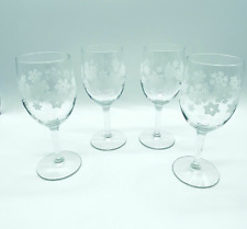 Vintage Snowflake Winter Clear Glass Stemmed Wine Glasses Set of 4