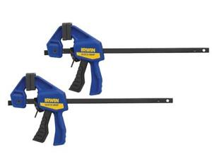 """Irwin Quick-Grip T530062EL7 Micro One-Handed Bar Clamp 115mm / 4.5"""" Twin Pack"""