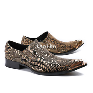 38-46 British Pointed Toe Slip On Party Nightclub Mens Real Leather Shoes Casual