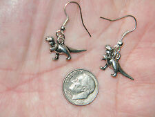 DINOSAUR EARRINGS T-REX Silver Earrings Silver Plated Ear WiresTyrannosaurus NEW