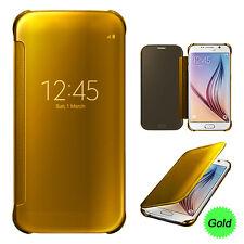 Carcasa de Móvil inteligente espejo con encendido Suspensión funda para Samsung Galaxy S6 Edge Plus dorado